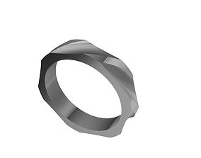 Geometric ring 3D printable model metallic