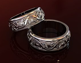 Slavic Nordic Amulet Wedding Bands with 3D print model