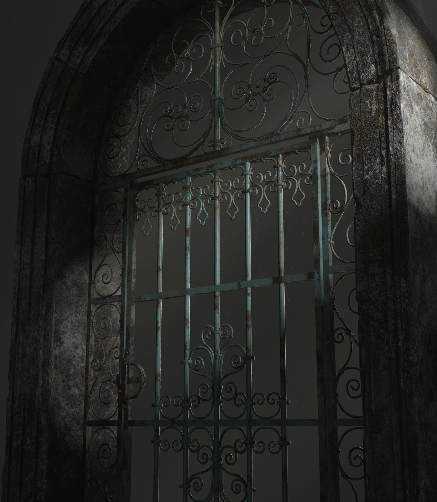 Old Forged gate (with rays)
