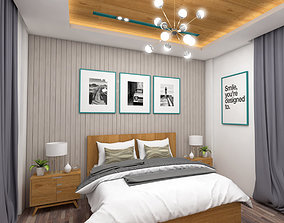 Light colors bedroom interior scene 3D model
