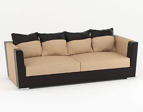 3D model Light Brown & Black Scandinavian Sofa