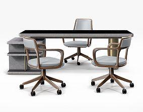 3D Baxter Verba Volant Desk and Giorgetti Baron Armchair