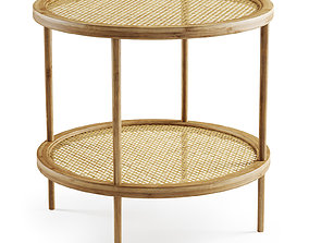 Double wooden rattan coffee table 3D model