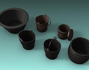 3D model 6 Bucket set