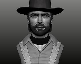 Clint Eastwood bust High poly Zbrush 3D