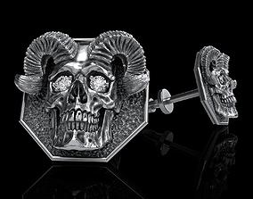 skull earrings studs 3D printable model rock
