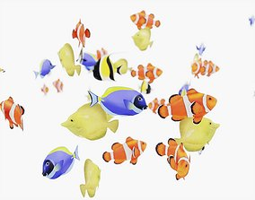 3D asset School of Fish Animated