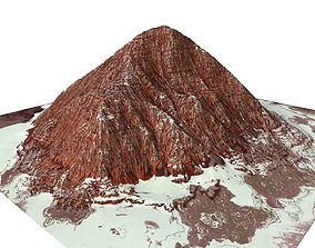 Red Snow ICE Mountain Canyon Desert Low Poly 3D asset 2