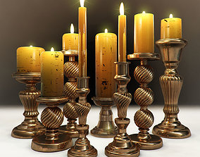 A set of chandeliers with candles 3D model