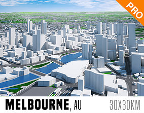 3D model Melbourne City And Surroundings Australia Low 2