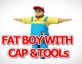 3D model Fat Boy with cap and tools