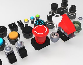 Emergency Buttons and Switches 3D model push