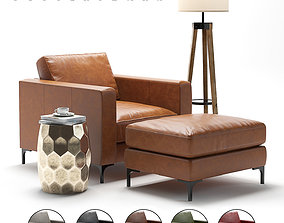 Pottery Barn Jake Leather Armchair 3D model