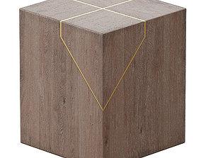 Rylan Brass-Inlaid Wood Block End Table 3D model