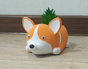 3D printable model PLANTER CORGI DOG