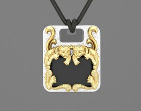 3D print model Pendant with couple cats