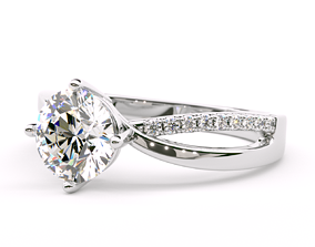 Twisted Round Shape Diamond Engagement Ring 3D print model