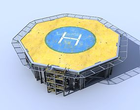 3D asset Helicopter industrial landing pad Orange - 3