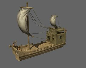 ancient wood boat 3D model