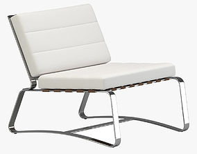 White Leather Modern Lounge-Chair 3D model