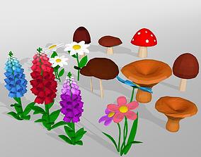 3D asset Mushroom and flower low poly set