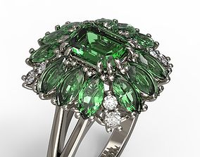 3D print model Jewelry ring with emerald stone