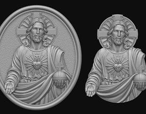3D print model Jesus With Sacred Heart Pendant 2