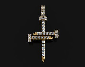 Diamond Nail Cross Pendant 3D print model