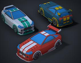 3D model Stylized Modular Low Poly Sport Car 01 Mobile