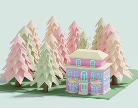 Cartoon Lovely Village House 3D asset