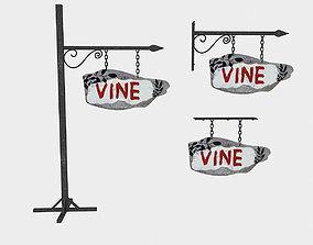 old wooden vine sign 02 3D model