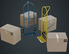 Hand Truck And Boxes 4A 3D asset