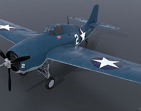 GRUMMAN F4F-3 WILDCAT VMF-222 3D model rigged
