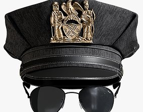 Police Cap And Sunglasses 3D model