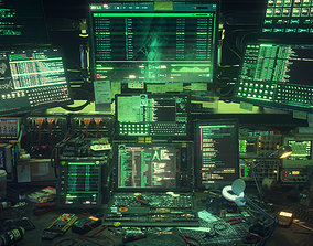 Cyberpunk Hacking Workspace 3D model