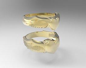 silver Winged heart rings set 3D printable model
