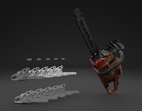 Scanned Chainsaw LOW POLY LOD 3D model