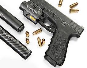 3D model Pistol Glock 17 Gen4 with Flashlight and Silencer