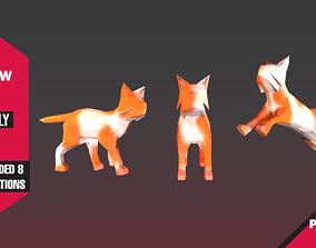 Yellow Cat 3D model animated