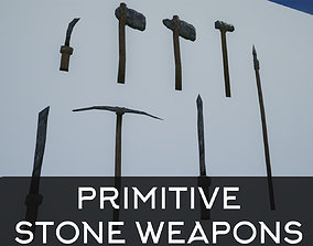 Lowpoly Primitive Stone Weapons 3D model
