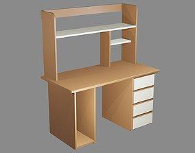 Wooden Office Desk 3D model realtime