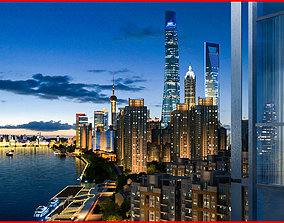 Night view of Shanghai riverside 3 3D model