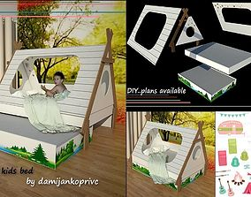 modern child bed-crib 3D asset