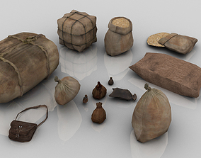 3D asset Set of 13 Medieval Bags and Sacks