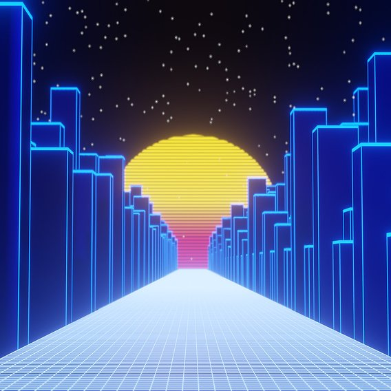 Retrowave Neon City Scene EEVEE Aesthetic SCENE