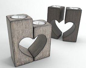 Wooden romantic candlesticks 3D