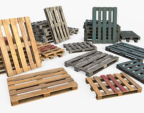 Wood Euro Pallets Collection 3D