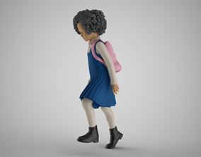 3D printable model Little School Girl Climbing Steps 3