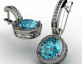 Earrings with topaz 0021 3D print model