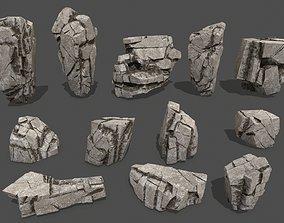 3D asset VR / AR ready stone snow rocks